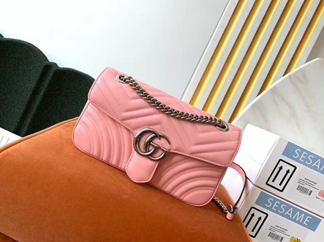 Gucci GG Marmont small shoulder bag 443497 Pastel pink