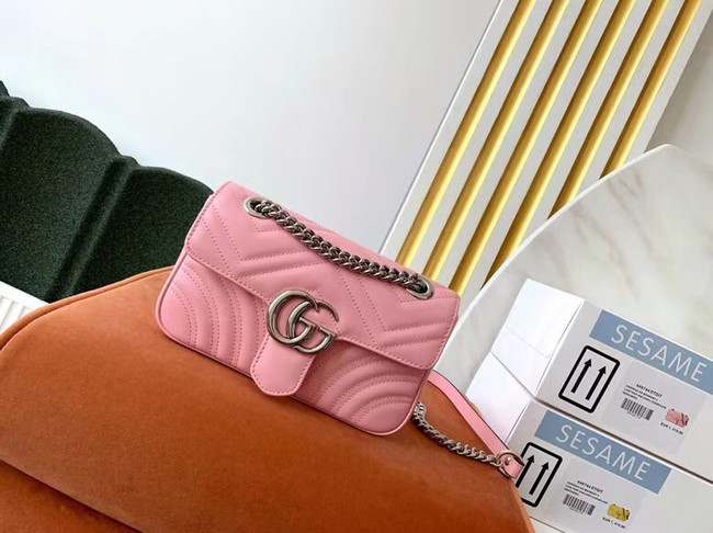 Gucci GG Marmont small shoulder bag 446744 light pink