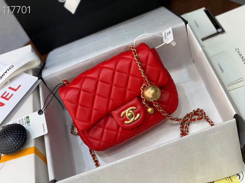 Chanel MINI Flap Bag Original Sheepskin Leather AS1786 Red