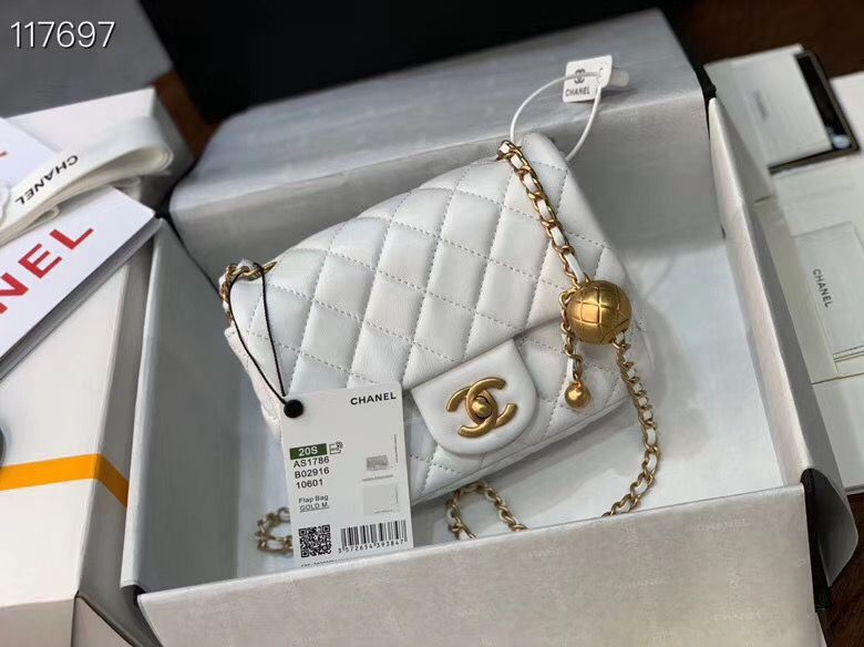 Chanel MINI Flap Bag Original Sheepskin Leather AS1786 White