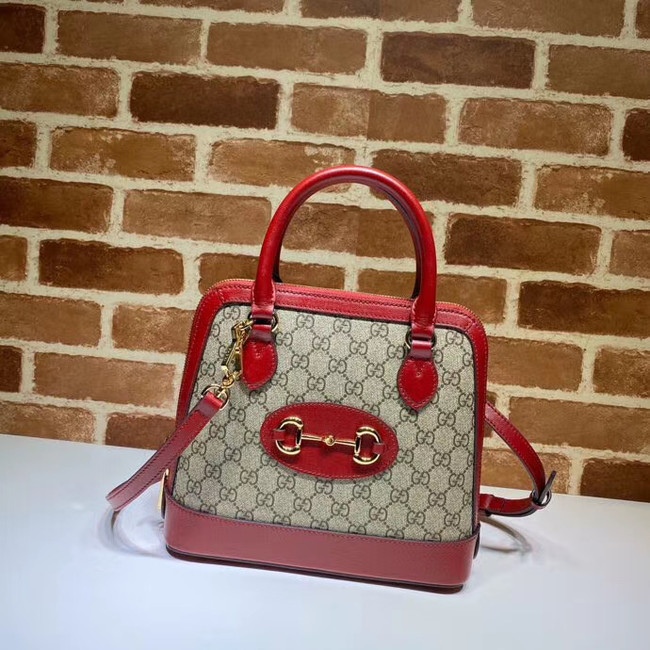 Gucci GG Supreme Canvas Top Handle Bag 621220 red
