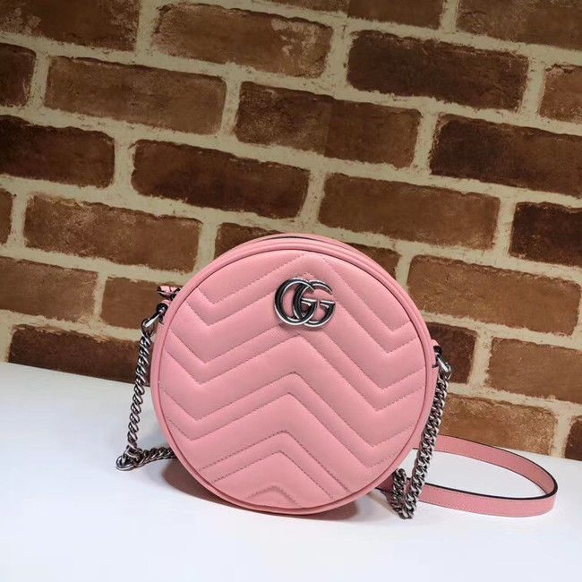 Gucci GG Marmont mini round shoulder bag 550154 Pastel pink