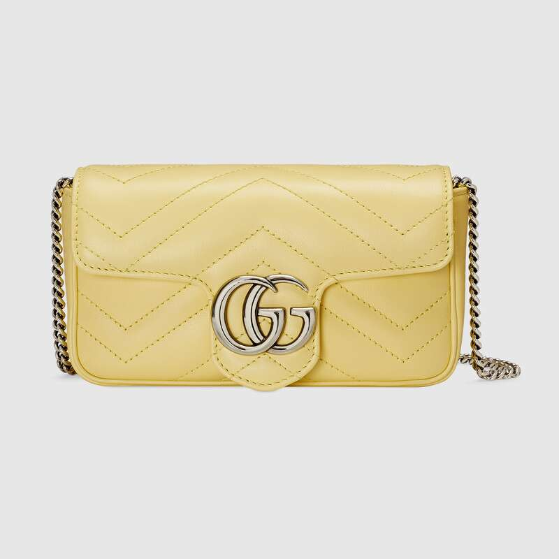 Gucci GG Marmont super mini bag 476433 Pastel yellow