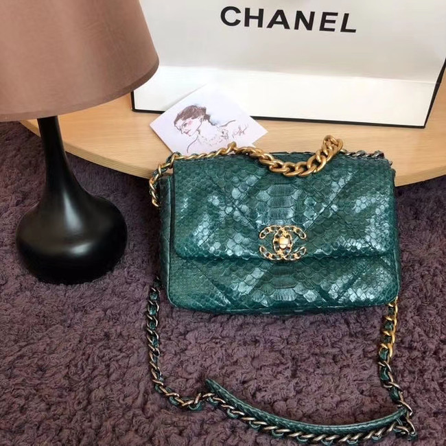 CHANEL 19 Flap Bag Original Snake skin flap bag AS1160 green
