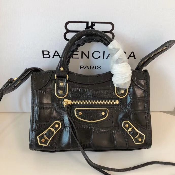 Balenciaga Mini Classic Crocodile Leather Bag B300296 Black