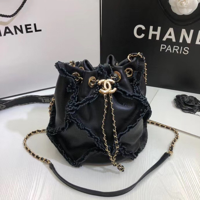 CHANEL Calfskin small drawstring bag & gold-Tone Metal AS1613 black