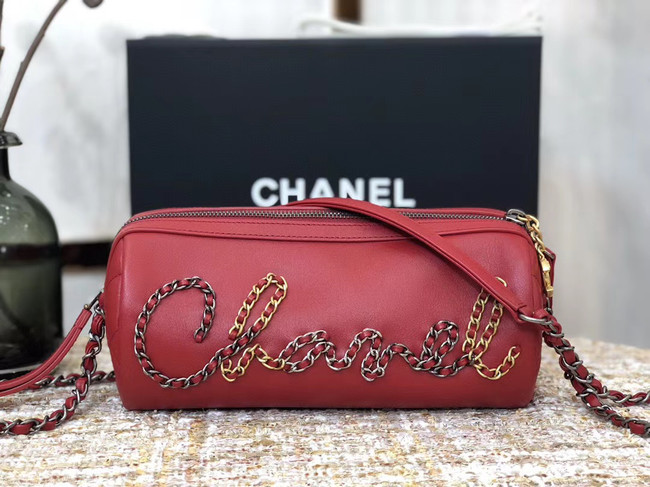 Chanel Original Sheepskin Leather Bowling Bag AS1779 red