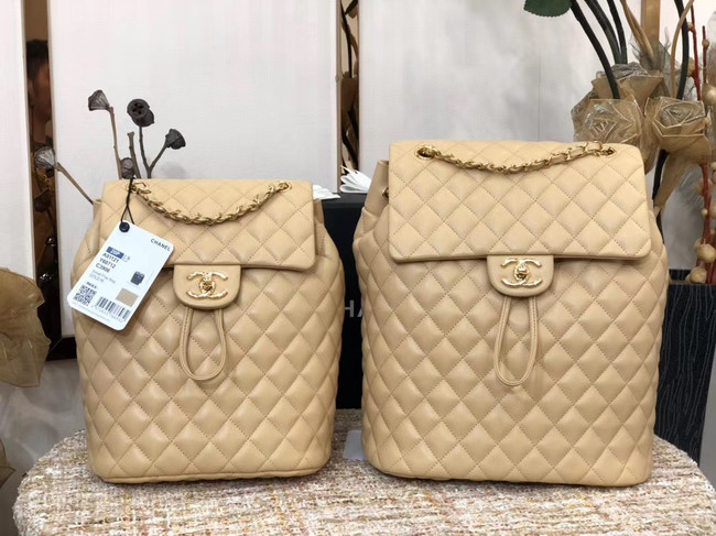 Chanel Backpack Sheepskin Original Leather 83431 Beige