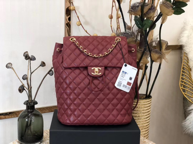 Chanel Backpack Sheepskin Original Leather 83431 Burgundy