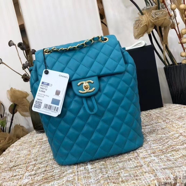 Chanel Backpack Sheepskin Original Leather 83431 sky blue