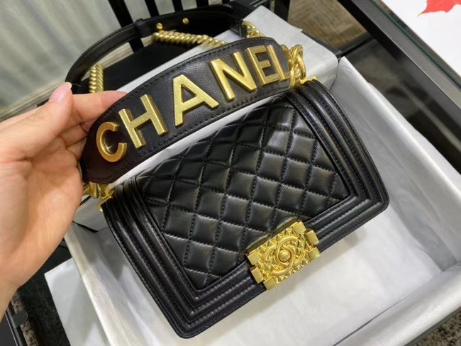 Small boy chanel handbag AS67085 black