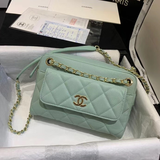 CHANEL Small camera bag Grained Calfskin & Gold-Tone Metal AS1367 green