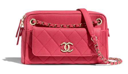 CHANEL Small camera bag Grained Calfskin & Gold-Tone Metal AS1367 pink