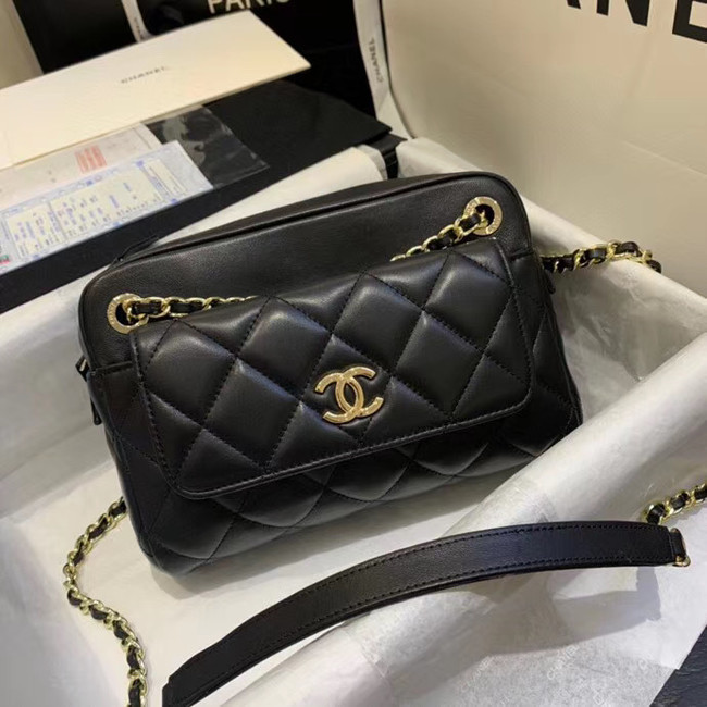 CHANEL Small camera bag lambskin & Gold-Tone Metal AS1367 black