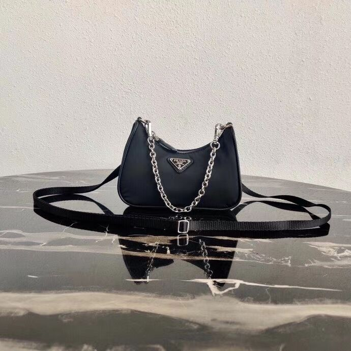 Prada Re-Edition nylon mini shoulder bag 1TT122 black