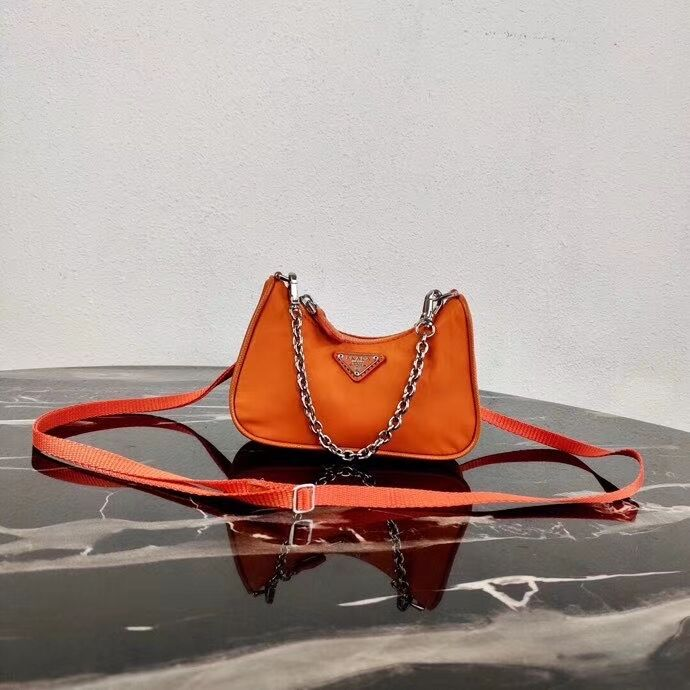 Prada Re-Edition nylon mini shoulder bag 1TT122 orange