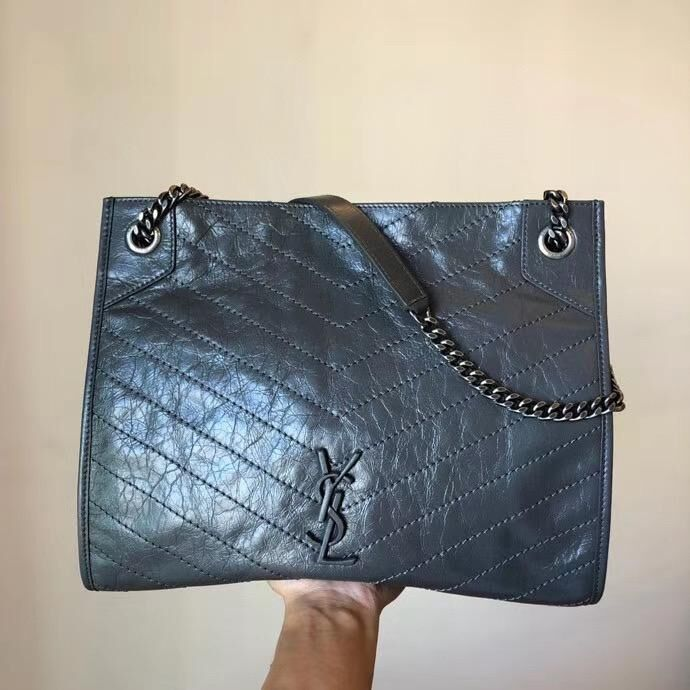 SAINT LAURENT Niki Medium leather shoulder bag 5814 Dark Gray
