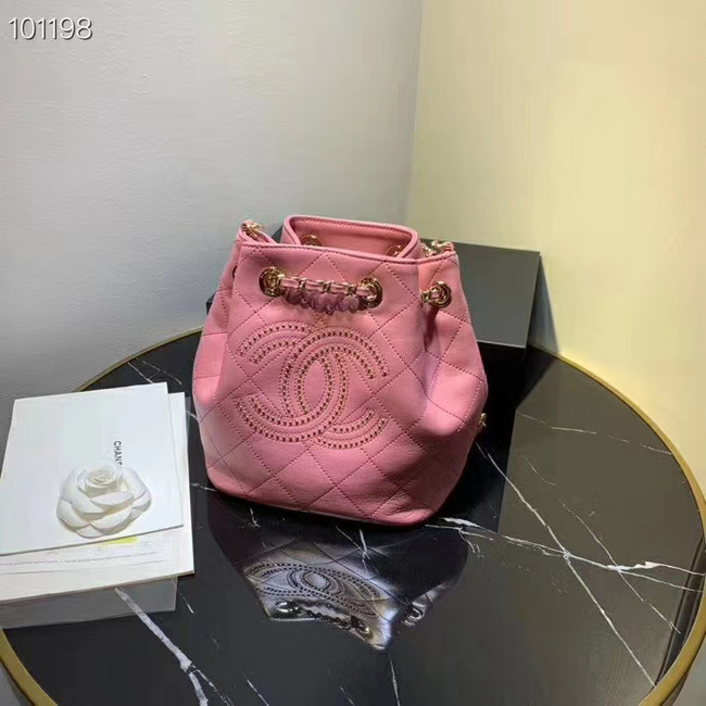 CHANEL Calfskin small Backpack & gold-Tone Metal AS1614 pink