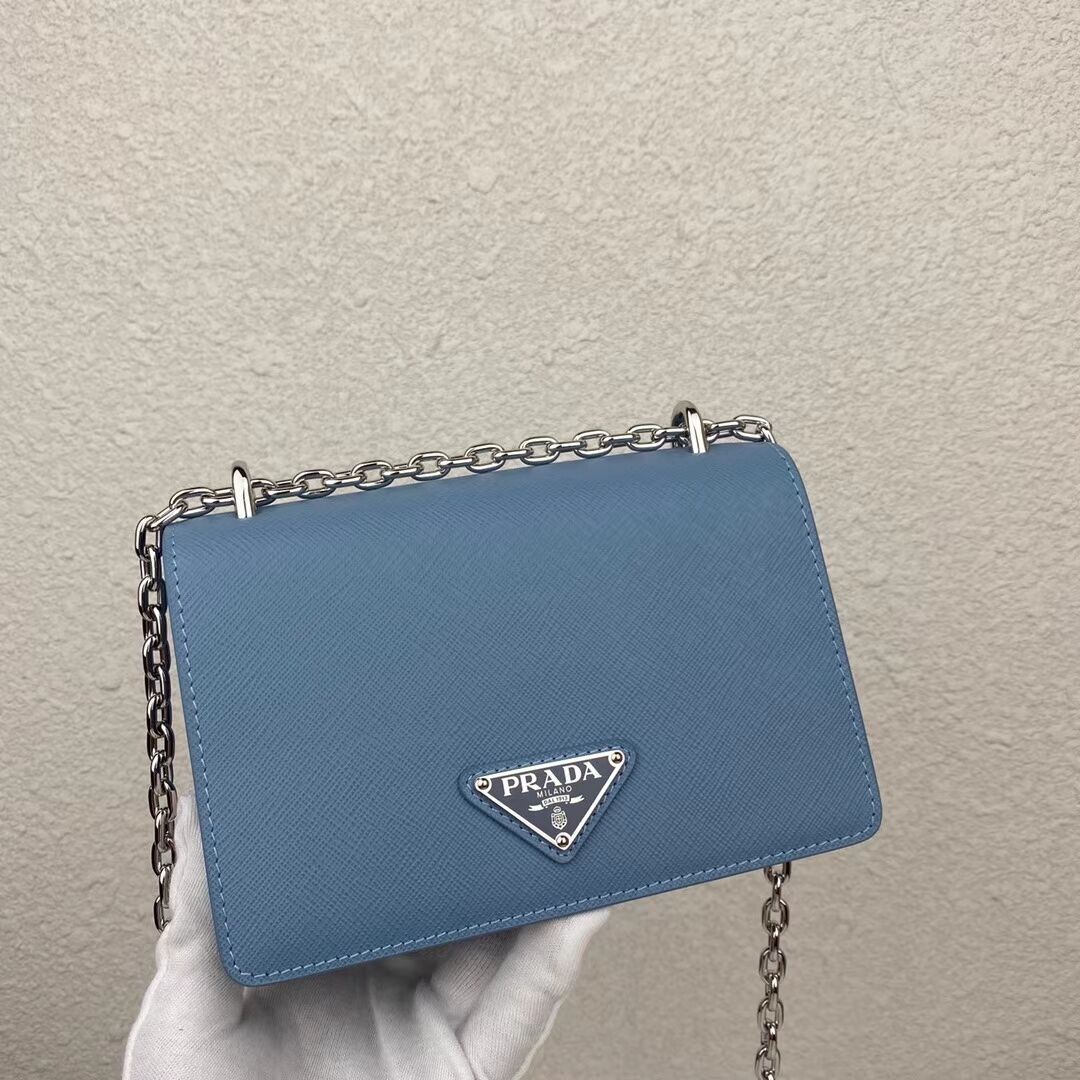 Prada Saffiano leather mini shoulder bag 2BD032 blue