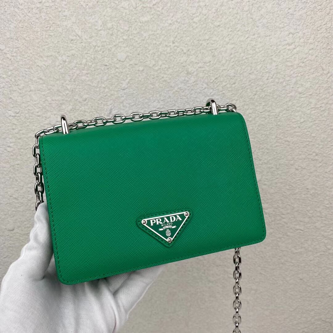 Prada Saffiano leather mini shoulder bag 2BD032 green
