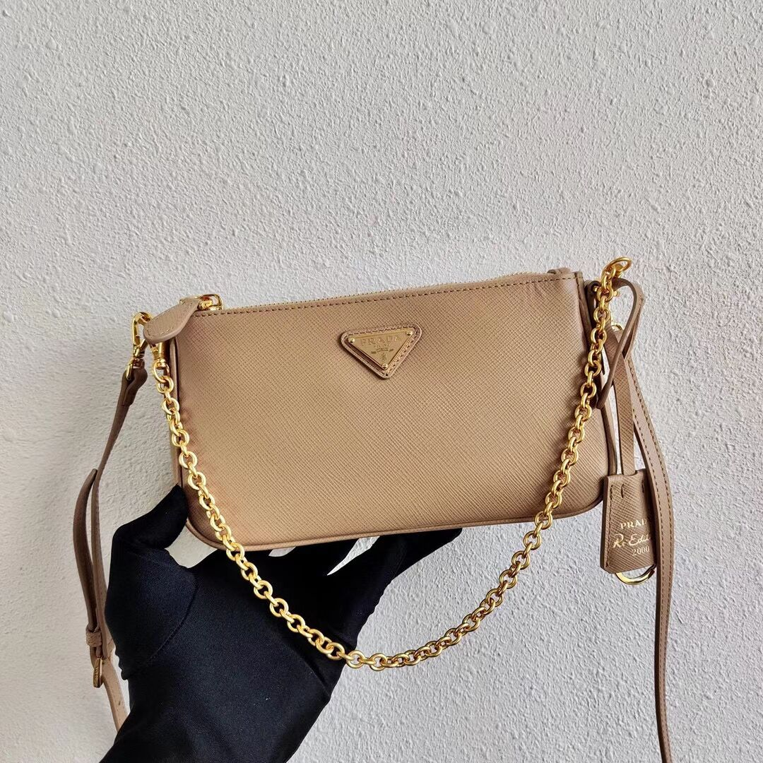 Prada Saffiano leather mini shoulder bag 2BH171 apricot