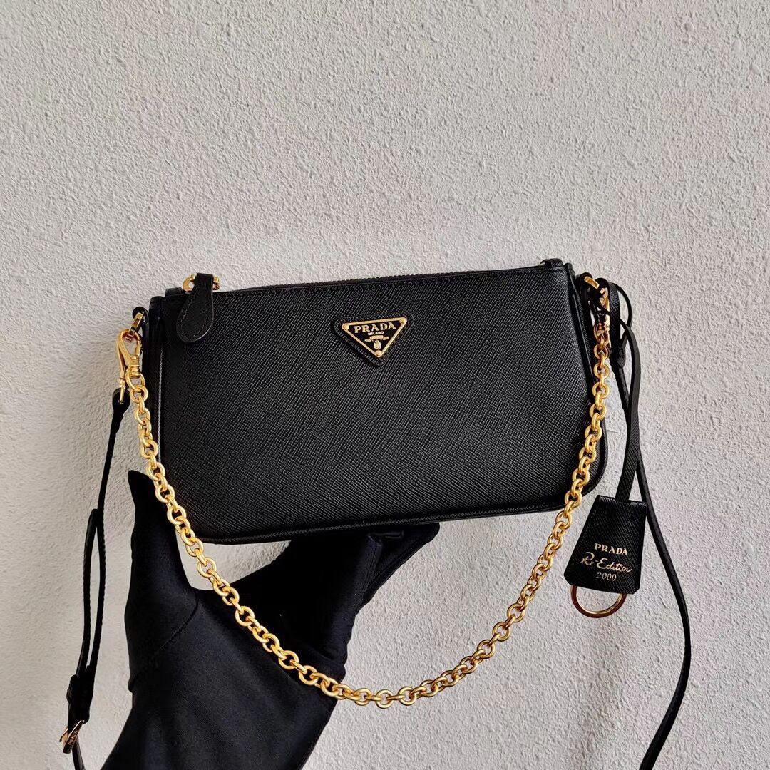 Prada Saffiano leather mini shoulder bag 2BH171 black