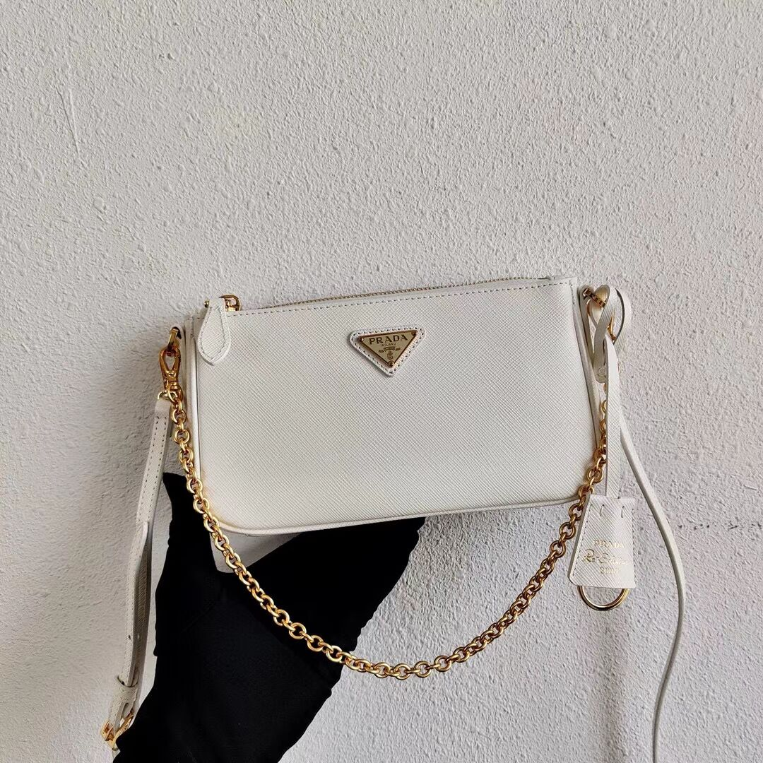 Prada Saffiano leather mini shoulder bag 2BH171 white