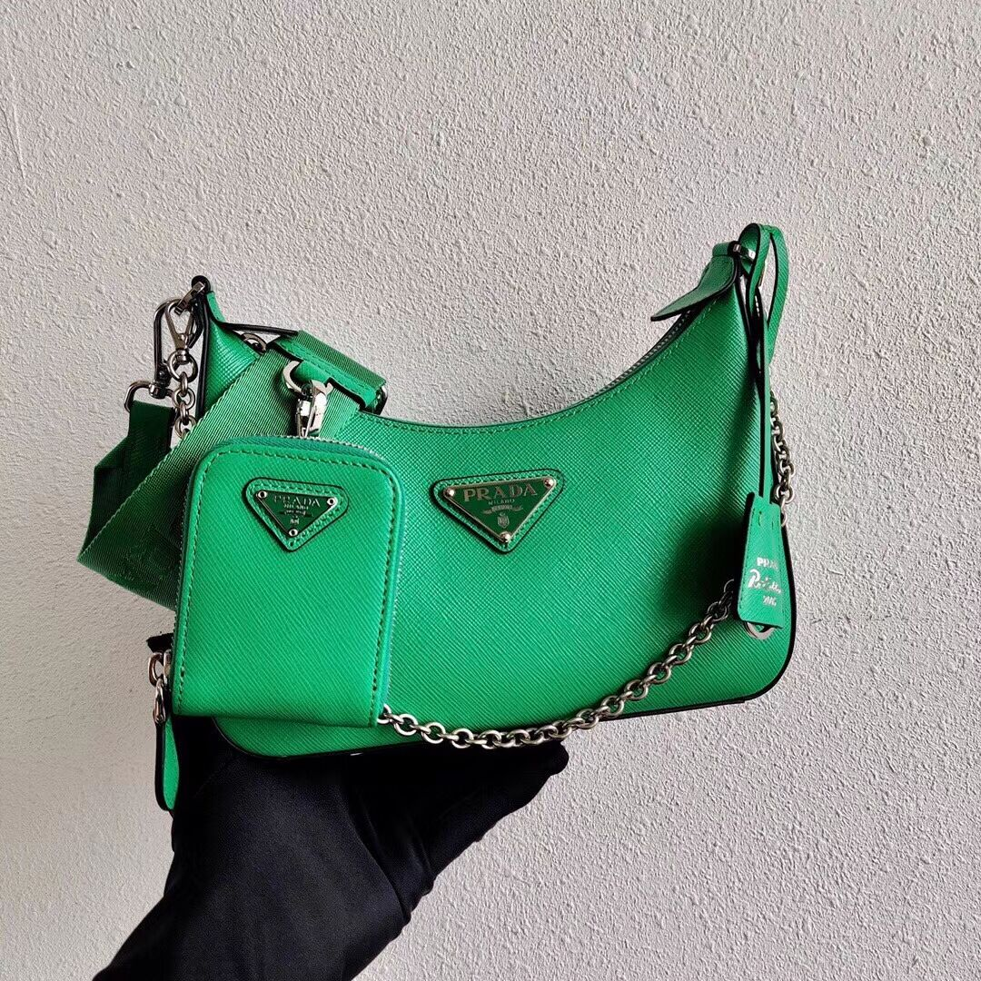 Prada Saffiano leather mini shoulder bag 2BH204 green