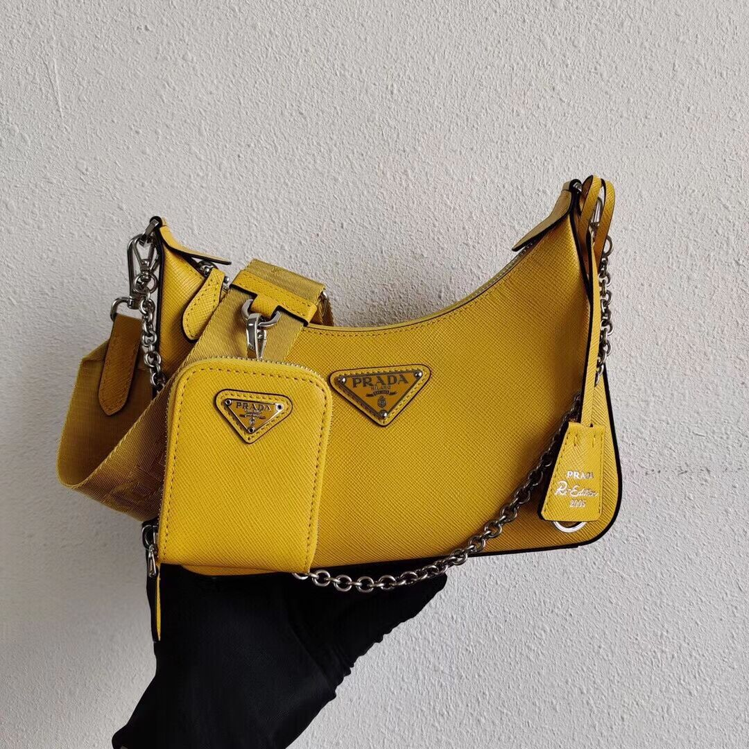 Prada Saffiano leather mini shoulder bag 2BH204 yellow
