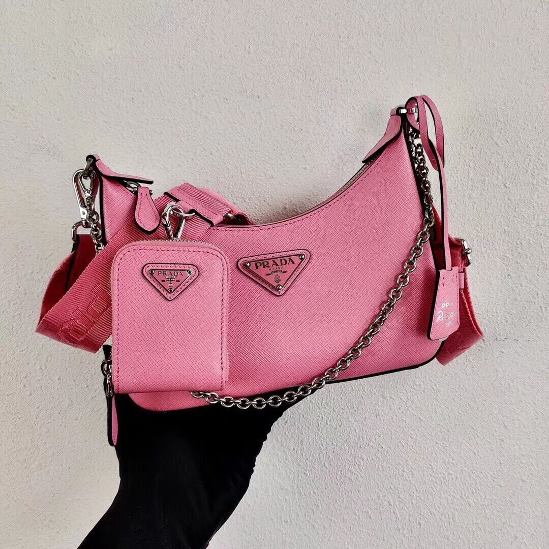 Prada Saffiano leather mini shoulder bag 2BH204 pink