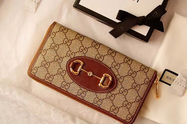 Gucci Horsebit 1955 zip around wallet 621889 brown