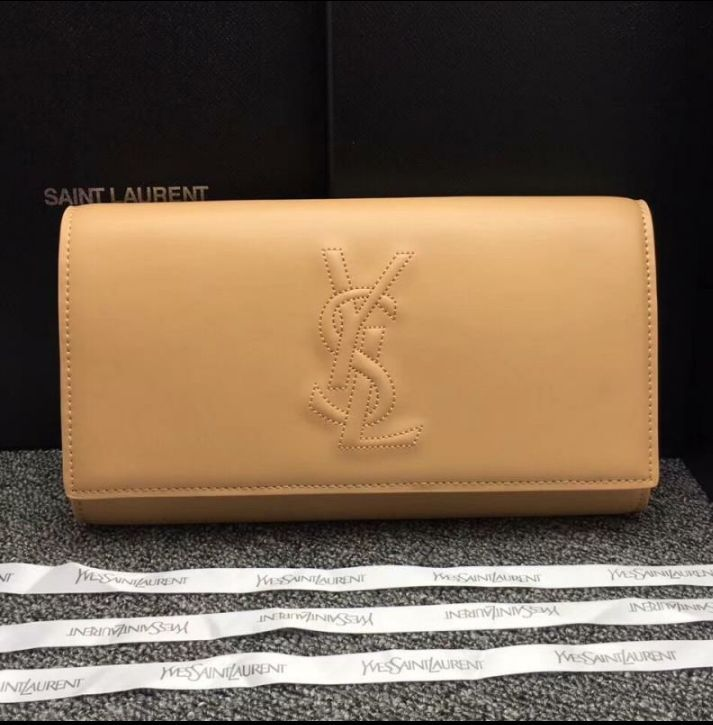 Yves Saint Laurent Original Leather Sac Be Du Jour Clutch Bag 26752 Beige