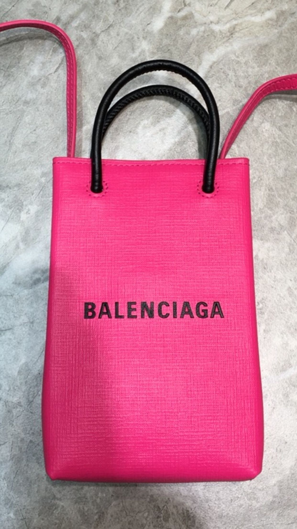 Balenciaga Original Leather Mini Shopper Bag B6123 Pink