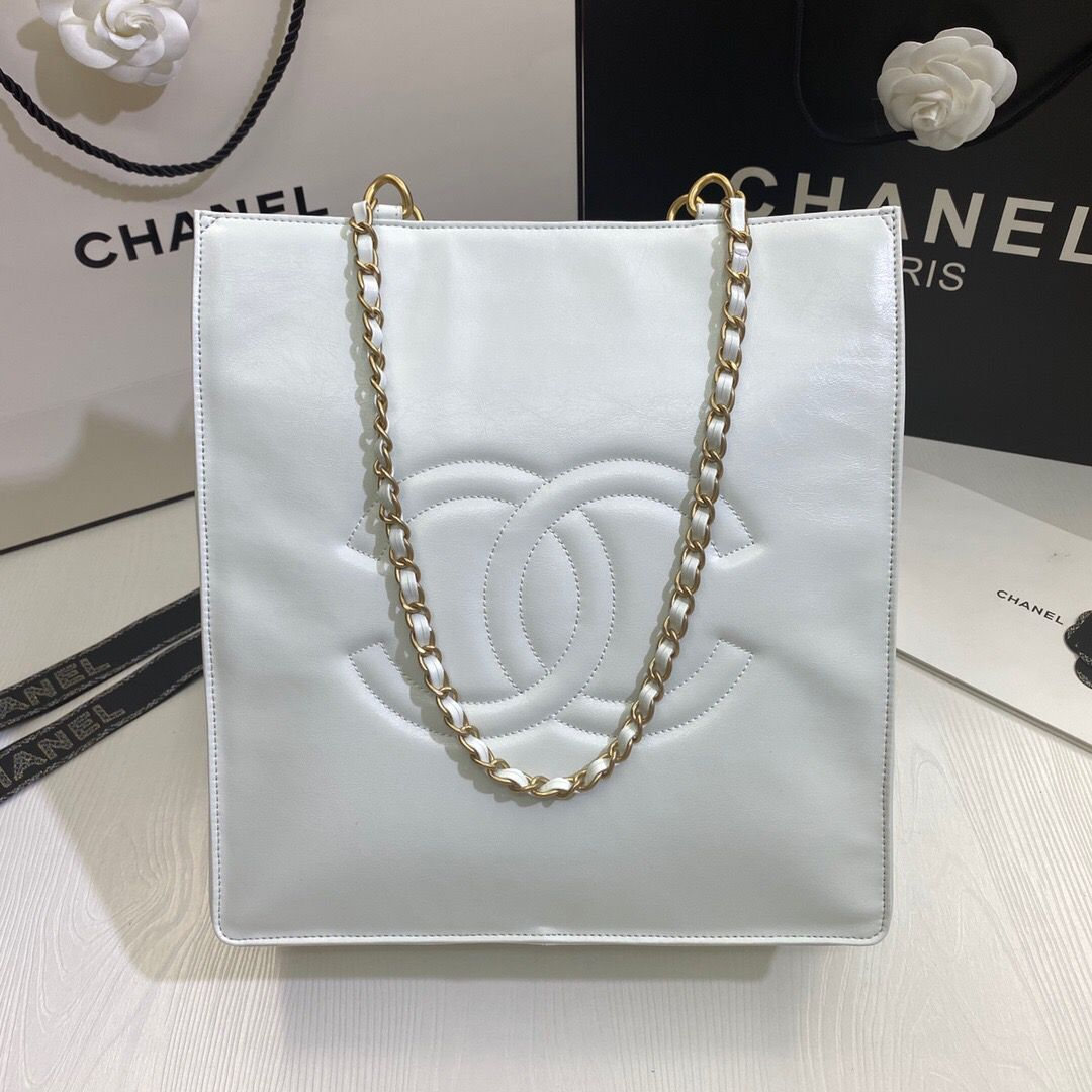 Chanel Original Leather Tote Shopping Bag AS1942 White
