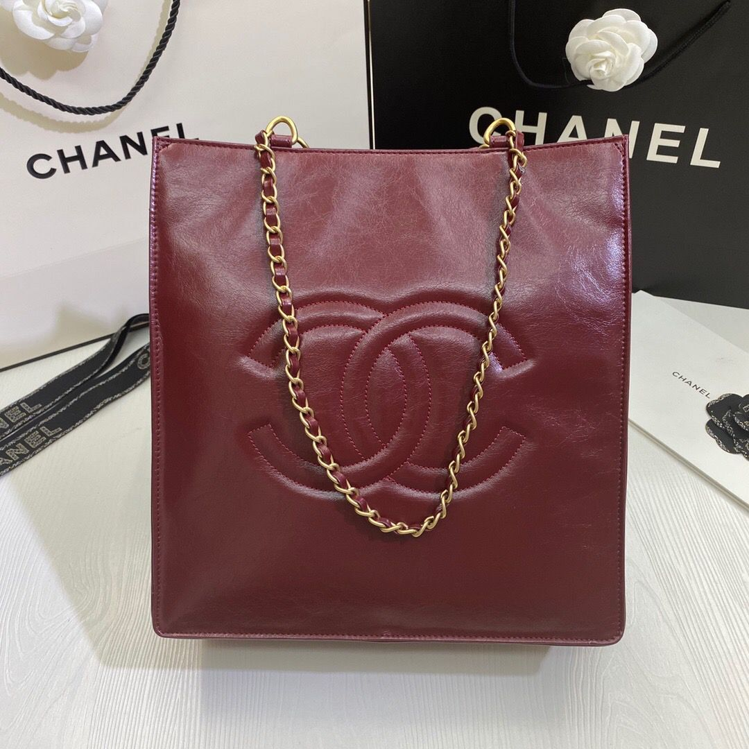 Chanel Original Leather Tote Shopping Bag AS1942 Wine