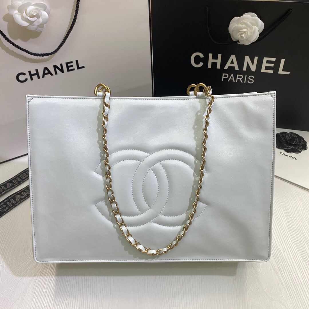 Chanel Original Leather Tote Shopping Bag AS1943 White