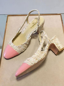 Chanel tweed slingbacks 55mm heel G31318 beige&pink