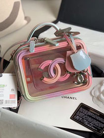 Chanel original PVC small vanity case A93342 pink