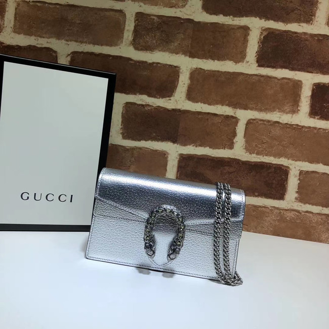 Gucci Dionysus Leather Super mini Bag 476432 silver