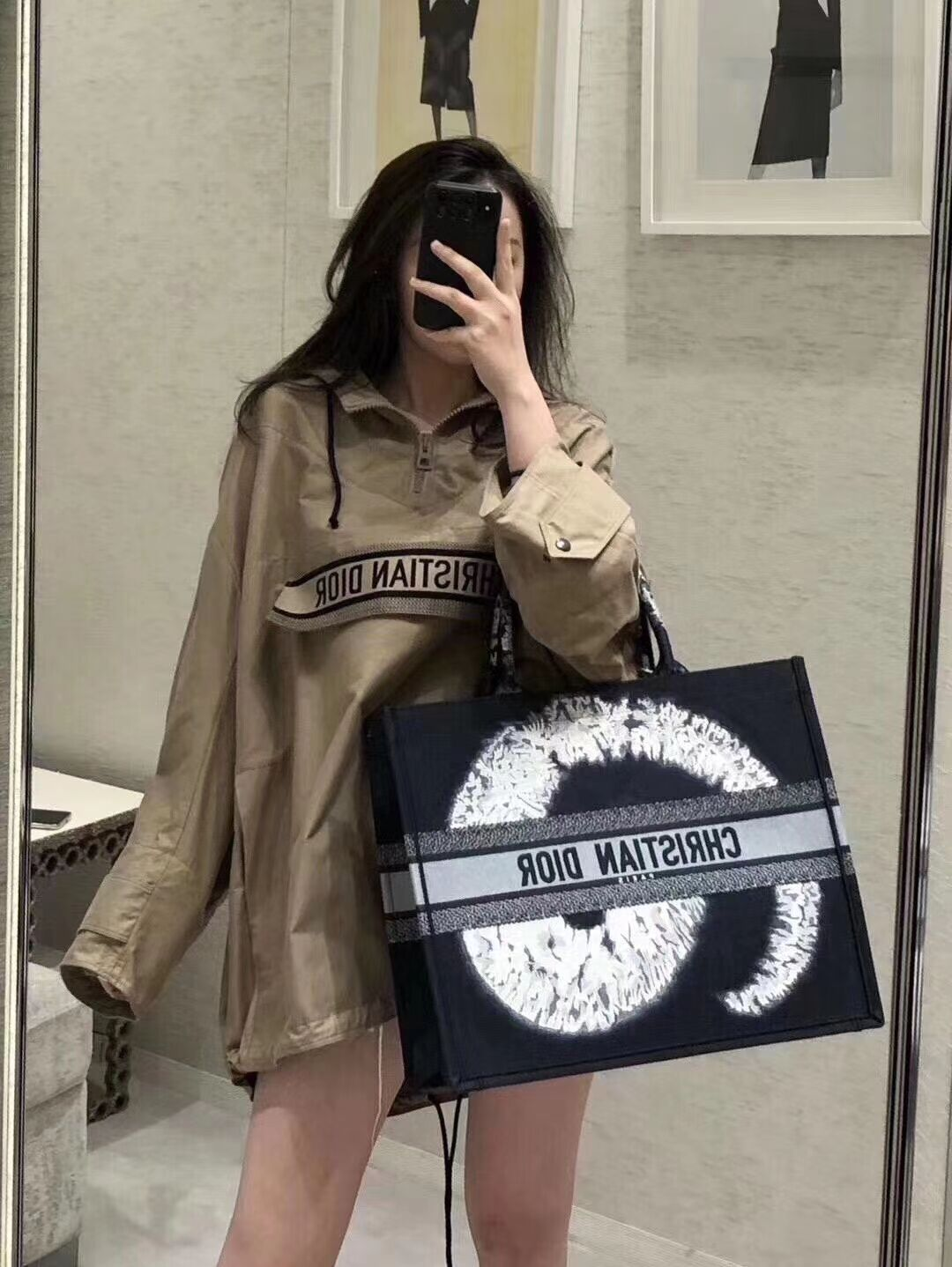 DIOR BOOK TOTE EMBROIDERED CANVAS BAG C1286-15
