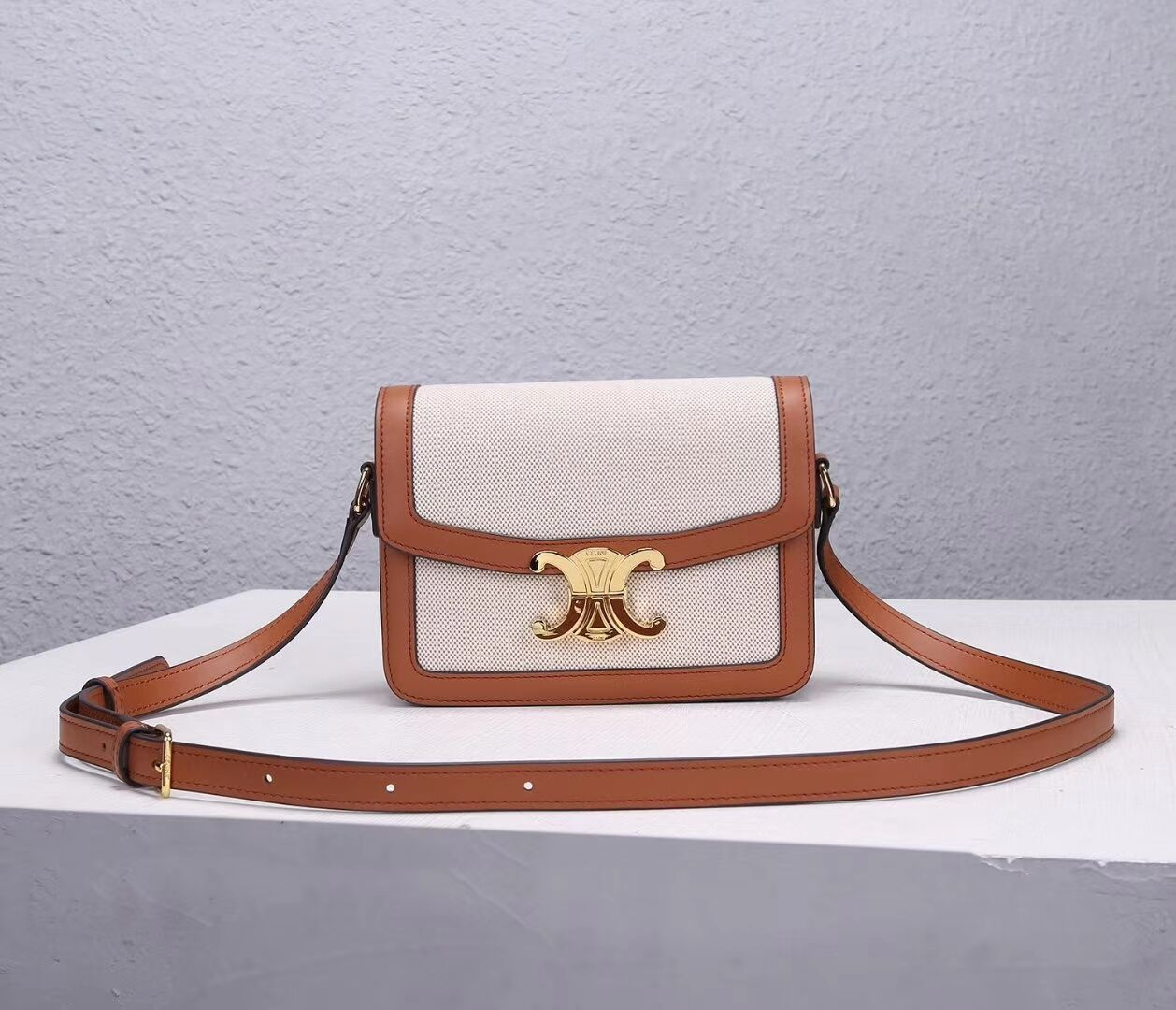 Celine TEEN TRIOMPHE BAG IN TRIOMPHE CANVAS AND CALFSKIN CL88423 white