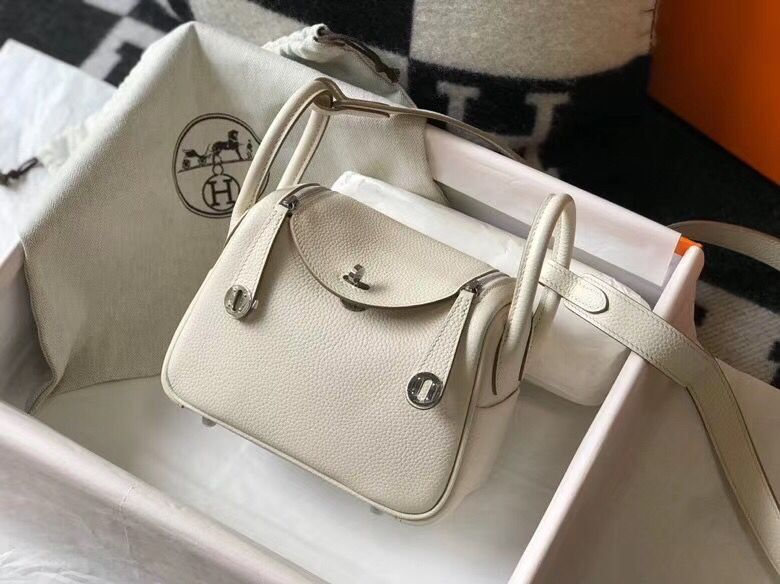 Hermes mini Lindy Original Togo Leather Bag LD19 White&Silver-Tone Metal