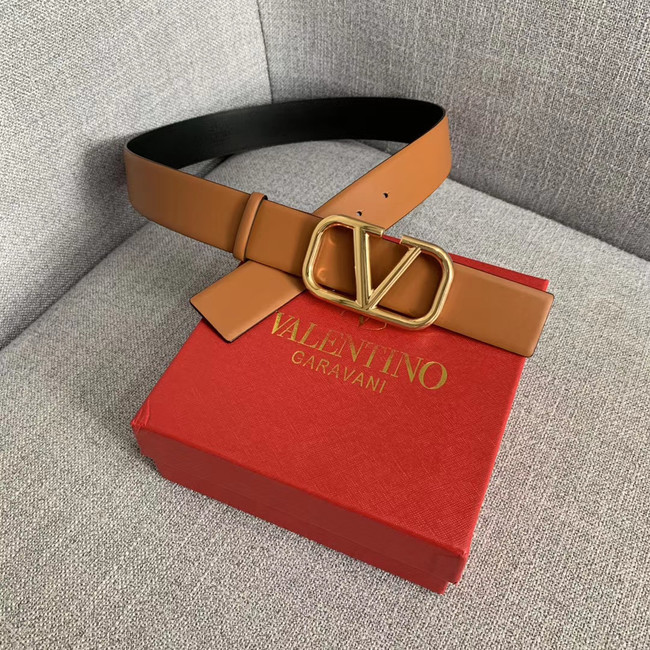 Valentino Leather Belt wide 4.0CM 3598 brown