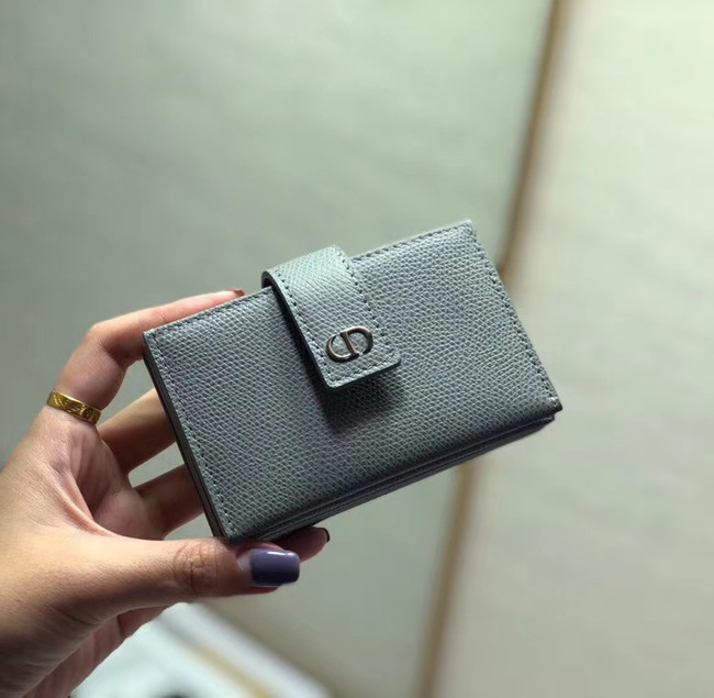 DIOR 30 MONTAIGNE 5-GUSSET CARD HOLDER Grained Calfskin S2058 grey