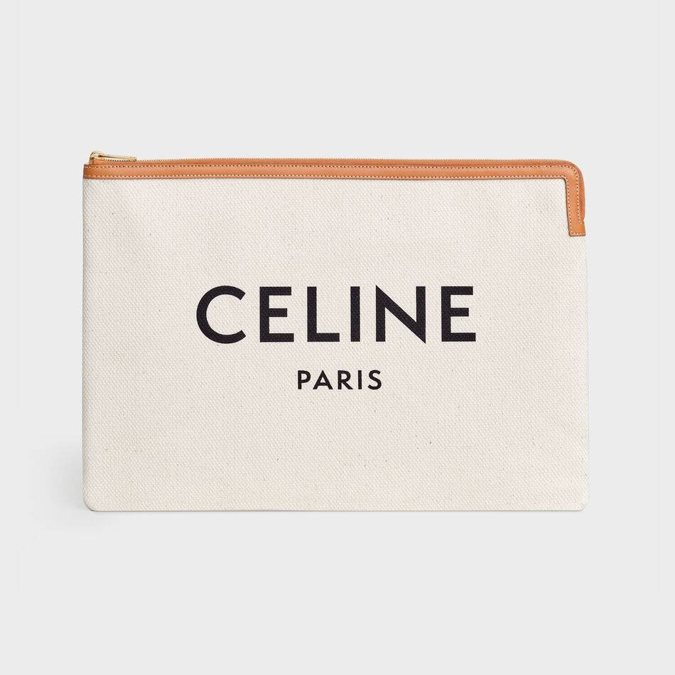Celine CLUTCHES LARGE POUCH IN COTTON WITH CELINE PRINT AND CALFSKIN 10B802B BROWN