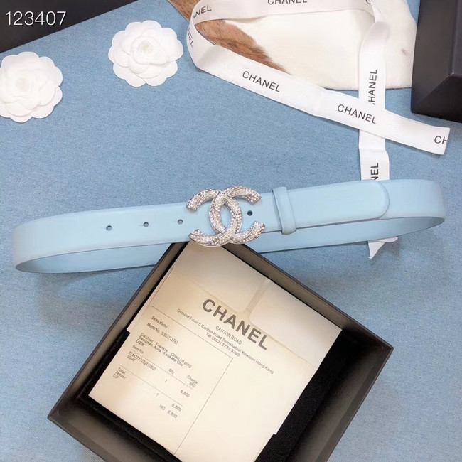 Chanel Original Calf Leather 3602 light blue&Silver