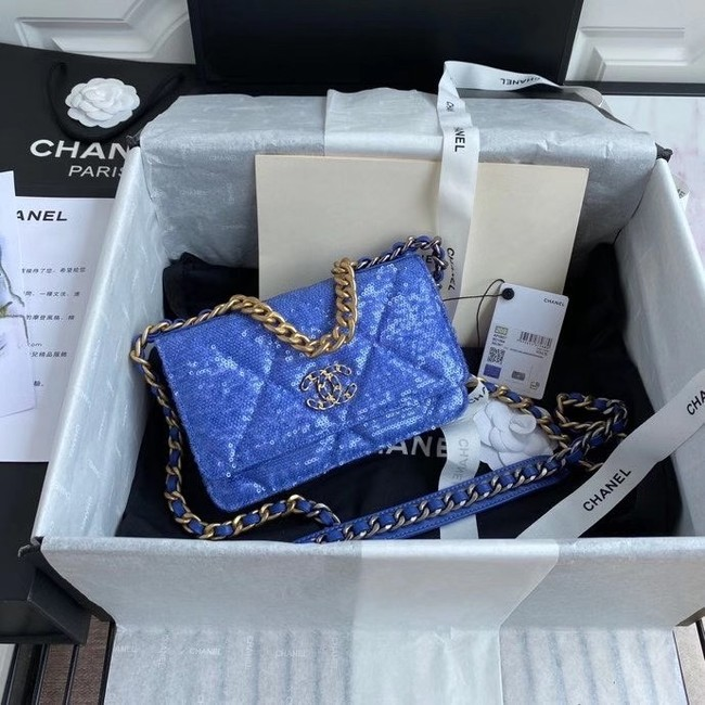 Chanel 19 Chain Wallet WOC AP0957 blue