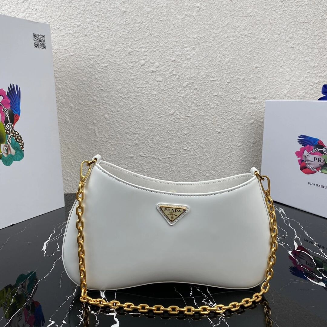Prada Saffiano leather shoulder bag 2BC148 white
