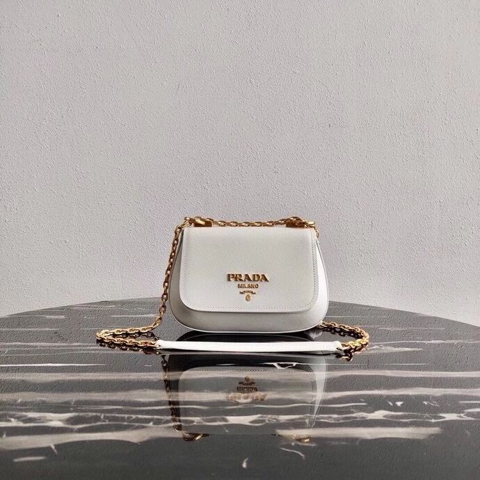 Prada Saffiano leather shoulder bag 2BD275 white