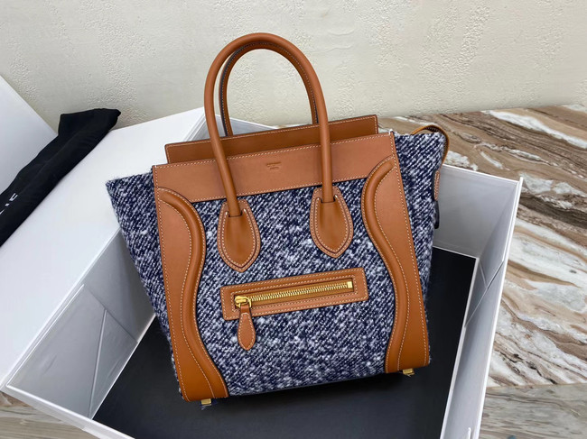 CELINE MICRO LUGGAGE HANDBAG IN TEXTILE AND CALFSKIN 167793 TAN&BLUE
